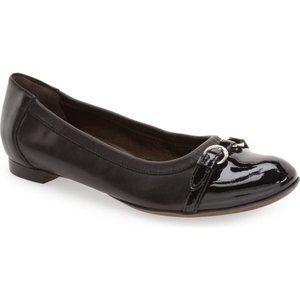 AGL Black Combo Leather Cap Toe Ballet Flat Chic